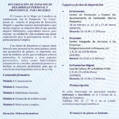 Programa de formación para las mujeres cántabras.